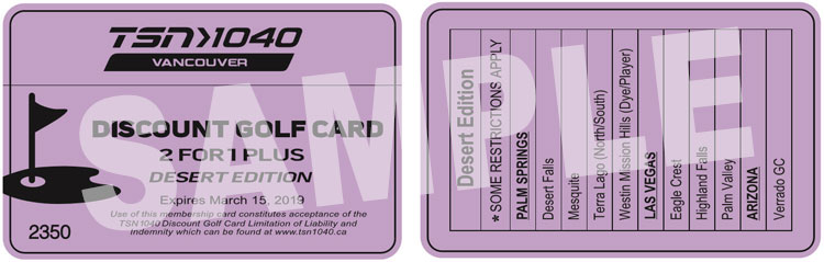 Winnipeg Discount Golf Card