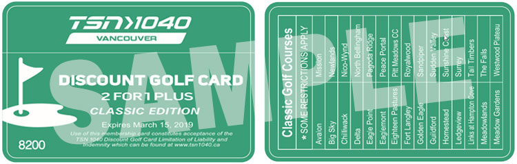 TSN Vancouver, 2for1 Plus, Discount Golf Card